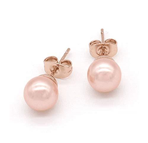 Mimei Ohrstecker Rose Gold 18 Karat Roségold vergoldet,8mm Süßwasser Perlen Rosa, Perlen Ohrringe Rose für Weihnachten Valentinstag