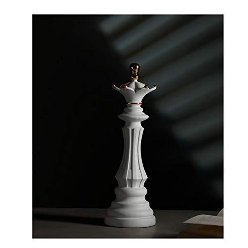 ZWRY Escultura Accesorios de Tablero de Estatua de Resina Figuras de Adornos de ajedrez Internacional para decoración Interior de Piezas de ajedrez para el hogar Reina Blanca