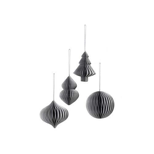 broste Christmas Mix Paper, 4-teiliges Anhänger-Set, faltbar Farbe Silver