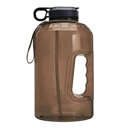 Vecksoy Botella deportiva de 3,78 litros, con indicación del tiempo y pajitas, boca ancha, sin BPA, reutilizable, ideal para gimnasio, deportes al aire libre, hogar y oficina