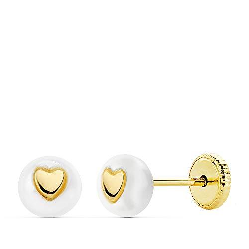 Orecchini da bambina o neonata, in oro 18 k con perla e cuore, 5 mm