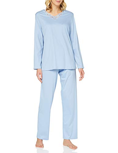CALIDA Damen Cosy Cotton Nights Pyjamaset, Clear Blue, 40-42