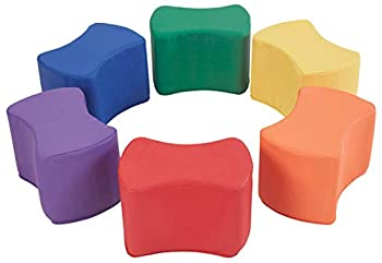 FDP SoftScape 10 inch Butterfly Stool Modular Seating Set for Toddlers and Kids Soft Lightweight Foam Colorful Flexible Seating for In-Home Learning Classrooms and Daycares  6-Piece Set  - Assorted