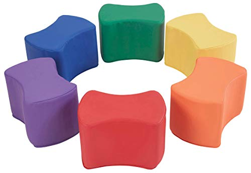 FDP SoftScape 10 inch Butterfly Stool Modular Seating Set for Toddlers and Kids, Colorful Flexible Seating for Classrooms and Daycares (6-Piece Set) - Assorted
