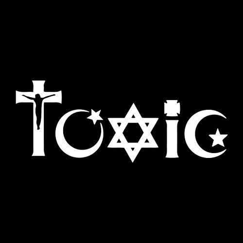 EvolveFISH Toxic Religion Weatherproof Vinyl Decal - [White][5']