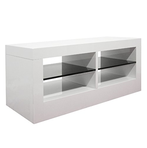 Base porta TV bifacciale laccato lucido bianco con mensole laccato nero modello Sirio