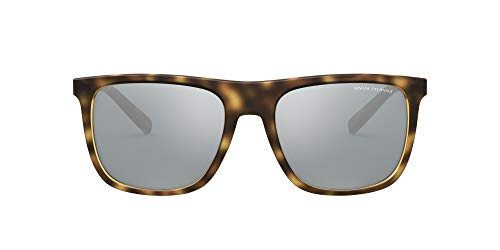 AX Armani Exchange Óculos de sol masculinos quadrados Ax4102s, Havana/cinza claro, preto, espelhado, 56 mm