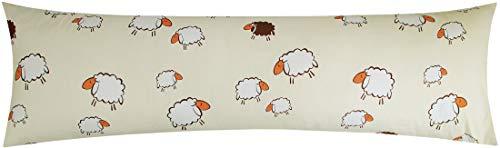 Heubergshop Baumwoll Renforcé Seitenschläferkissen Bezug 40x145cm - Süße Schafe Lämmer in Gelb und Weiß - 100% Baumwolle Stillkissenbezug (KY-99-3-B)