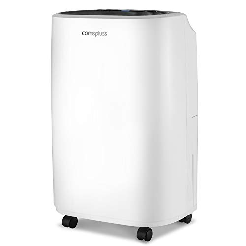 COMEPLUSS 12L Dehumidifier Low Noise Automatic Defrost Dehumidifier with 24 Hour Timer for Damp, Moisture, Condensation in Home, Kitchen, Bedroom, Bathroom, Basement, Garage, Office