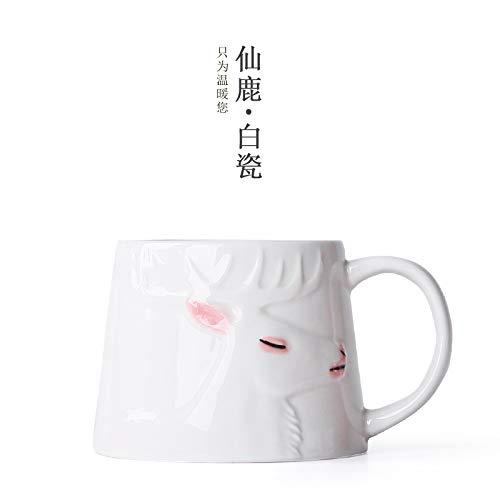 Winpavo Becher Kaffeetassen Tassen Moma Deer Handgemalte Tasse Jingdezhen Keramik Zuhause Kreative Becher Paare Tasse Geschenk Teetasse, Xianlu Weiß Porzellan