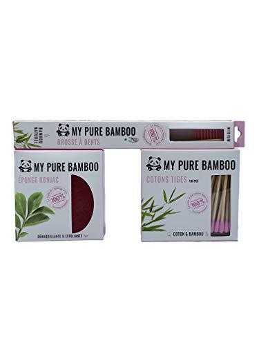 Denti-smile - My Pure Bamboo - Kit Hygiène Visage 100% Naturel et Bio - 1 Boite de Cotons Tiges, 1 Eponge Konjac, 1 Brosse à Dent en Bambou - Kit Coloré (Rose)