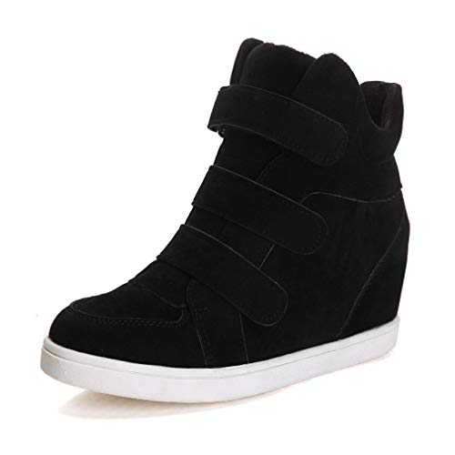 CYBLING Womens Hi Top Wedge Sneakers Fashion Leopard Hidden Heel Platform Fitness Trainer Casual Shoes Black