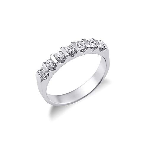 Gioielli di Valenza - Anello Veretta a 7 pietre in Oro bianco 18k con diamanti ct. 0,70 - FE7RS070BB - 15