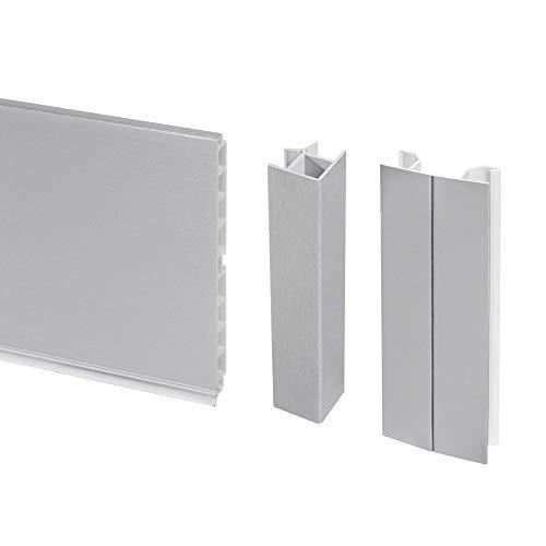 Emuca - Kit de zócalos para cocina, con accesorios de unión, altura 150 mm, 4,7 m, plástico, anodizado satinado.