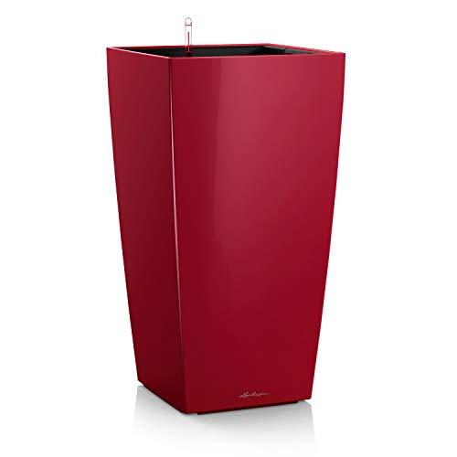 LECHUZA CUBICO Premium 40, Scarlet Rot Hochglanz, Hochwertiger Kunststoff, Inkl. Bewässerungssystem, Herausnehmbarer Pflanzeinsatz, Für Innenraumbegrünung, 18193