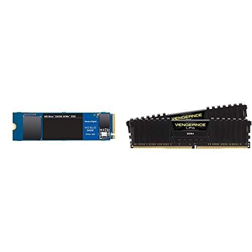 WD Blue SN550 1TB NVMe Internal SSD - Gen3 x4 PCIe 8Gb/s, M.2 2280, 3D NAND, Up to 2,400 MB/s - WDS100T2B0C & Corsair Vengeance LPX 16GB (2x8GB) DDR4 DRAM 3200MHz C16 Desktop Memory Kit - Black