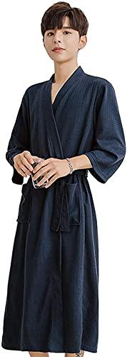Pijama Waffle Wrap sobre bata de baño, bata de vestidor de tejido de poliéster transpirable con cinturón de bolsillo de cuello en v Traje de encaje (Color : Dark Blue, Size : L)