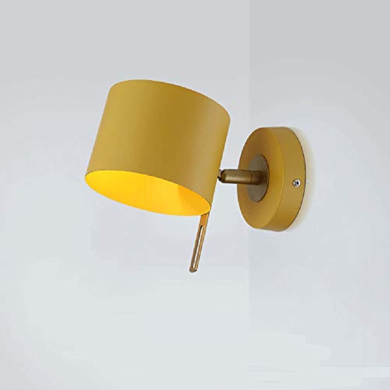 E14 Wandleuchte Gelb Wandlampe Messing farbe Wandlicht Eisen Wall Wash Lights Geeignet für Wohnzimmer Macaron Bibliothek Schlafzimmer Lesesaal Esszimmer Babyzimmer