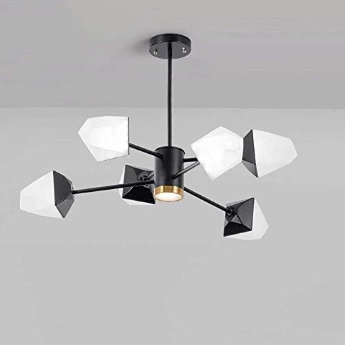 QLIGAH Luz de Techo Industrial Wind Moderno Explosión Cubo de Hielo Hierro de Hierro Forjado Lámpara de Sala de Estar