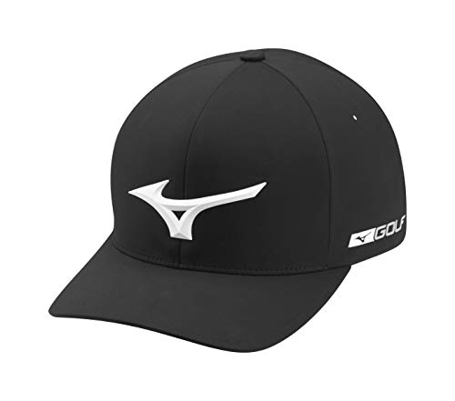 Mizuno Tour Delta Fitted Hat, Large/Extra Large, BLACK