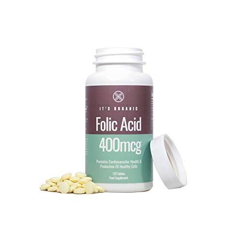 It's Organic - Folic Acid 400mcg - 120 Tablets - Aids Red Blood Cell Production and Promotes A Healthy Heart