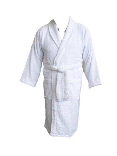 AJ Adulte col châle Robe, Blanc, Tissu éponge 100% Coton. Taille XXL en Tissu éponge
