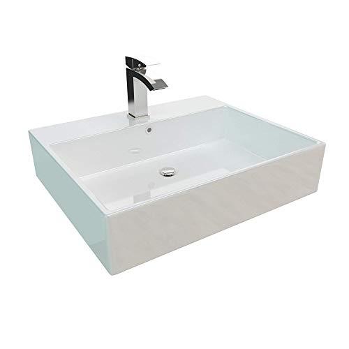 Kerabad Handwaschbecken zur Wandmontage – Keramik Waschbecken eckig – Weiß 60cm NX260