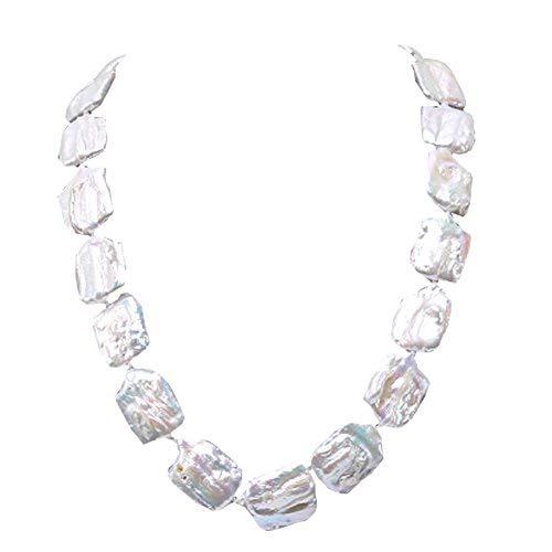 JYX Pearl Baroque Necklace 17-18mm Natural White Süßwasser Perlenkette für Hochzeit, 48,3 cm