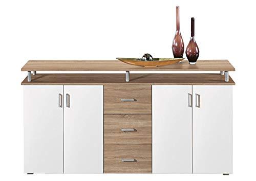 AVANTI TRENDSTORE - Lift - Comò spaziosa con 4 ante a battente e 3 cassetti, in laminato di quercia Sonoma e bianco, dimensioni: LAP 180x90x40 cm