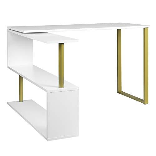BJYX Schreibtisch MDF Bürotisch Arbeitstisch Eckschreibtisch Drehtisch Gold + Weiß
