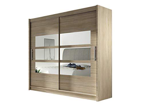 Kleiderschrank mit Spiegel London III, Schwebetürenschrank, Schiebetürenschrank, Modernes Schlafzimmerschrank 180x215x57cm, Garderobe, Schlafzimmer (Sonoma)
