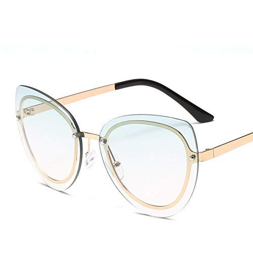 Z&HA Dames frameloze zonnebril grote gradiëntlens, anti-glare rijbril met glazen behuizing UV400 mannen