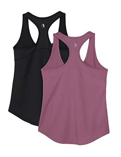 icyzone Damen Sport Yoga Tank Top Ringerrücken Gym Fitness Funktions Shirt 2er Pack (S, Black/Mauve Orchid)
