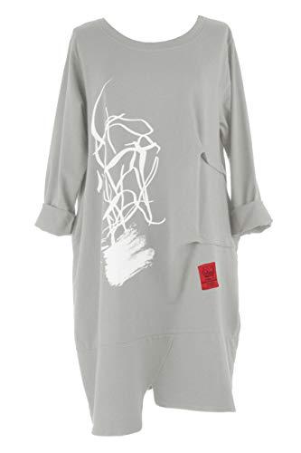 TEXTURE - Abito longuette a maniche lunghe da donna, stile italiano Lagenlook a 2 tasche, in jersey di cotone, taglia unica Grigio chiaro Taglia unica