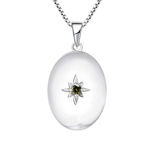 JO WISDOM Collar de Foto Medallón Plata de Ley 925 Mujer, Collar de Estrella Polar Joyas 3A Circonita Piedra de nacimiento de Agosto Color de Peridoto,Joyas para Mujeres Niña Mamá