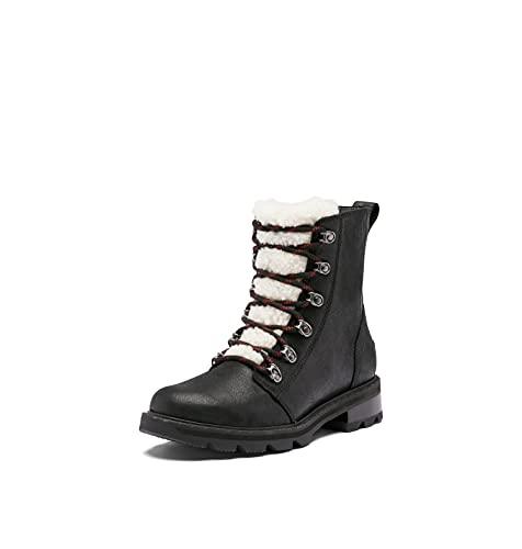 SOREL Lennox Lace Cozy Rain Boot - Botas de ante impermeables, Negro, Nocturnal Red, 41 EU