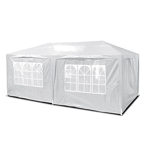 SANHENG Pavillon mit Seiten, wasserdichter Pavillon mit 4 Seitenteilen, vollständig wasserdicht, Partyzelt, Markise mit pulverbeschichtetem Stahlrahmen (3 x 6 m, weiß)