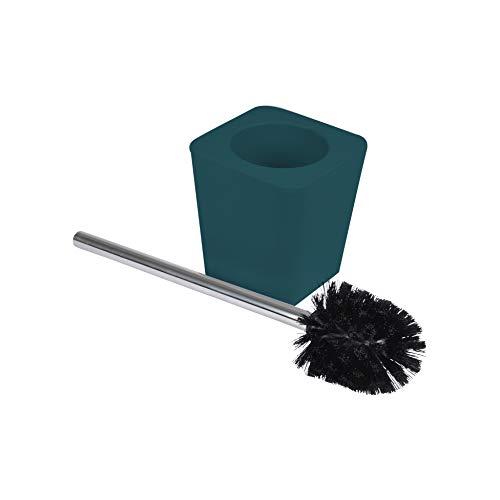 Douceur d'Intérieur 6ASB228EM Brosse WC 11.6X11.6X38.2 cm Plastique Uni Soft Touch Vitamine Bleu/Emeraude, ABS, 11,6 x 11,6 x 38,2 cm