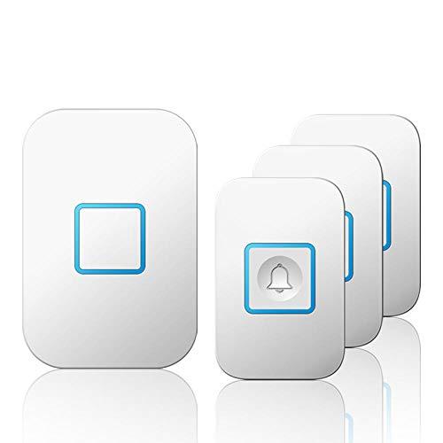 Timbre de puerta inteligente, inalámbrico, impermeable, 300 m, mando a distancia, 3 botones, 1 receptor, US EU UK AU-Plug, LED, 220 V China_3 botón, 1 receptor