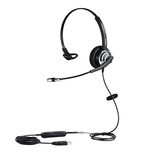 Auriculares USB de 1 oreja con micrófono con cancelación de ruido para computadora, computadora portátil, para equipos, Skype, dragón, dictado, jabber, zoom, oficina, escuela, cursos y juegos