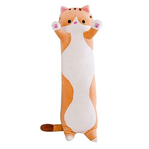 50 cm de almohada suave y larga para gato, juguetes de peluche, pausa de peluche, almohada para dormir o dormir para la decoración del hogar, regalo para niños y niñas (amarillo, 19.6 pulgadas)