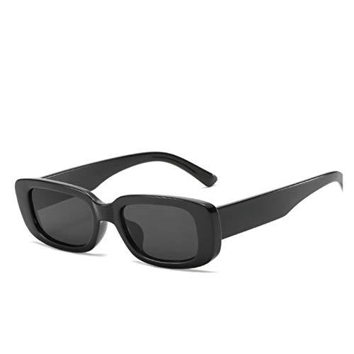ZYHWS Gafas de Sol de la Vendimia para Las Mujeres Retro diseñador de la Marca Pequeño rectángulo Gafas de Sol Sombras de gradiente Classic Gafass (Frame Color, Lenses Color : Black)