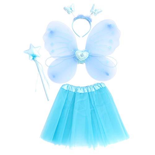 GALPADA 1 Juego de Disfraz de Hada para Niñas con Alas Y Diadema para Niñas Disfraz de Mariposa Disfraz de Fiesta de Cumpleaños Alas para Halloween Azul