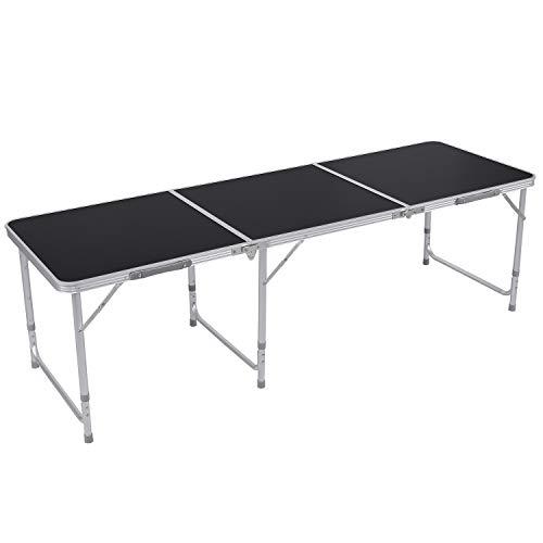 Homfa Campingtisch Klapptisch faltbar Gartentisch aus Aluminium Falttisch höhenverstellbar 180x60cm schwarz