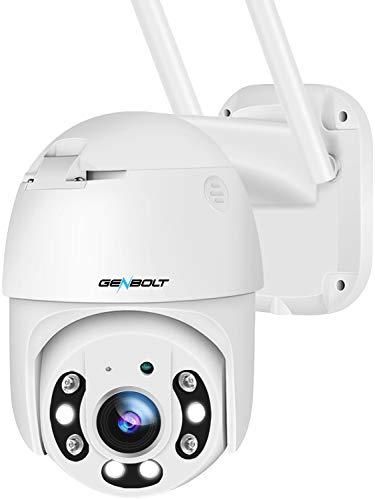 【自動追跡】防犯カメラ ワイヤレス 屋外 wi-fi パンチルト 監視カメラ カラー暗視撮影 ,GENBOLT AI人体検知 声光威嚇 見守りカメラ ベビーモニター 留守番 家庭用 ペットカメラ 遠隔 スマホ WiFi 無線 ネットワークカメラ 水平330°垂直90° 回転可能 双方向音声会話 IP66防水 夜間カラー MicroSDカード音声付き録画(最大128GB) 複数デバイスの接続,Eメールで画像を送る,LAN 子供 犬猫 日本語対応する無料APP, PSE認証 & 技適認証 終生技術の支持【2021年WIFI強化版】