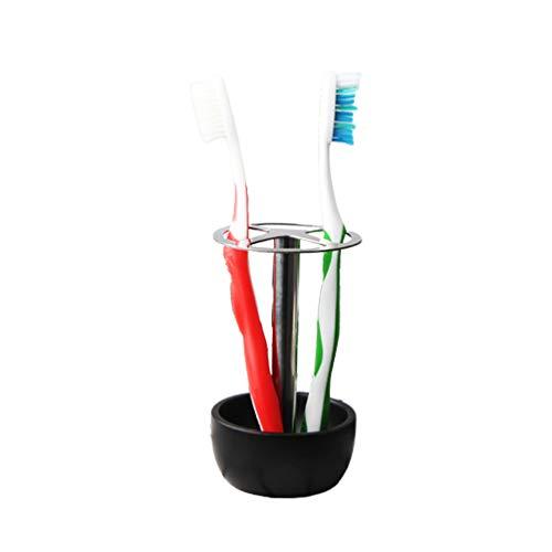 Minkissy RVS tandenborstelhouder borstel dienblad rek borsteldroger badkamer organizer voor tandenborstels make-up borstel tandpasta wit, 14 * 9 cm, zwart