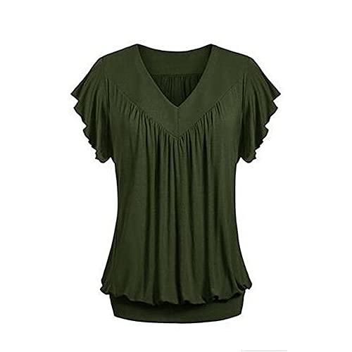 Camiseta de verano de algodón de las mujeres con cuello en v manga corta jersey pliegues sólido suelto, D, S