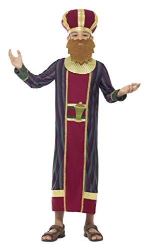 Smiffys-48037M Disfraz de Rey Baltasar, con Traje, Gorro Acolchado, Barba, cinturón, Multicolor, M-Edad 7-9 años (Smiffy