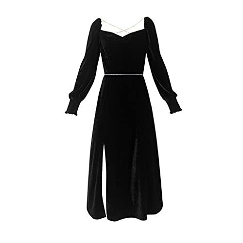 CHYSP Vestido De Fiesta De Terciopelo Vintage Elegante De Otoño Vestido A Media Pierna De Una Pieza De Noche Delgada De Cintura Alta Informal (Color : Black, Size : M code)