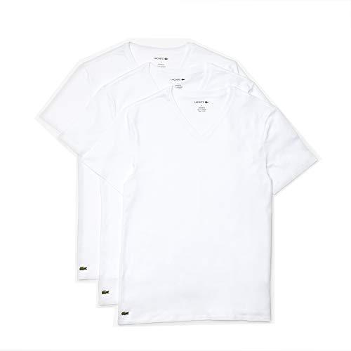 Lacoste Men's Essentials 3 Pack 100% Cotton Regular Fit V-Neck T-Shirts, White, M